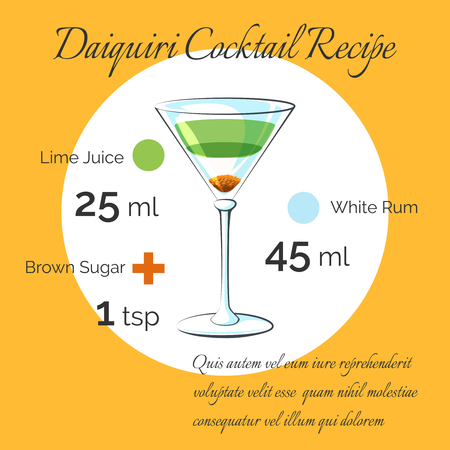 daiquiri: Daiquiri receipt. Daiquiri bartender cocktail vector receipt poster