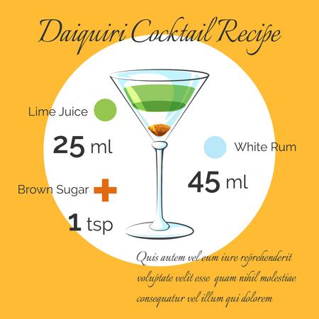 daiquiri: Daiquiri receipt. Daiquiri bartender cocktail vector receipt poster