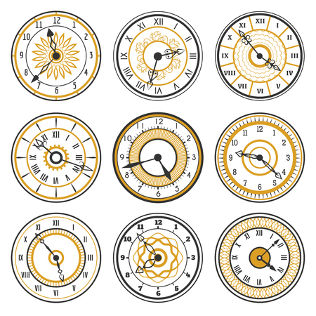 watch face: Vector watch face collection on white background