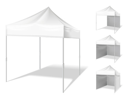outdoor event: Vector pop up white realistic tent for outdoor event