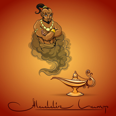 antiquities: Oriental tale illustration of genie aladdin lamp and text. Vector icon Illustration