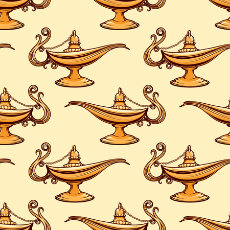 antiquities: Seamless pattern of gold magic aladdin lamp. Vector illustration
