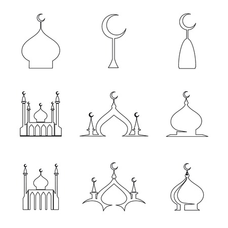 dome: Set of line arabic islamic dome of mosque icons. Vector illustration Illustration
