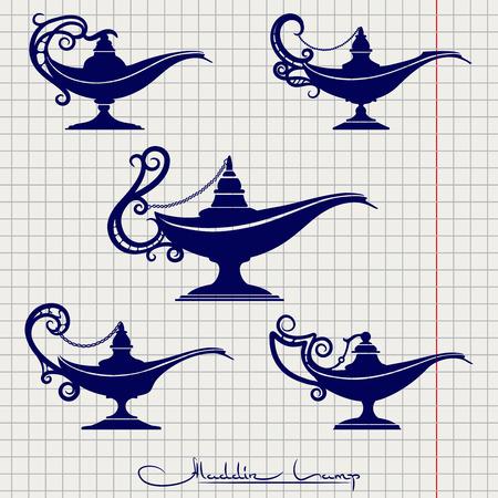 Ball pen imitation drawing aladdin lamp vector set on notebook page Illustration