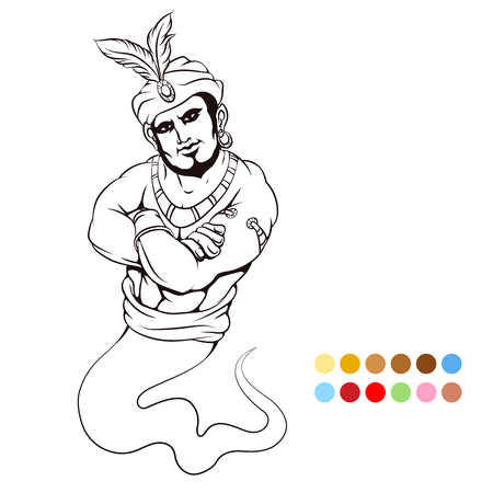 jinn: Coloring page with genie and color samples. Vector illustration Illustration