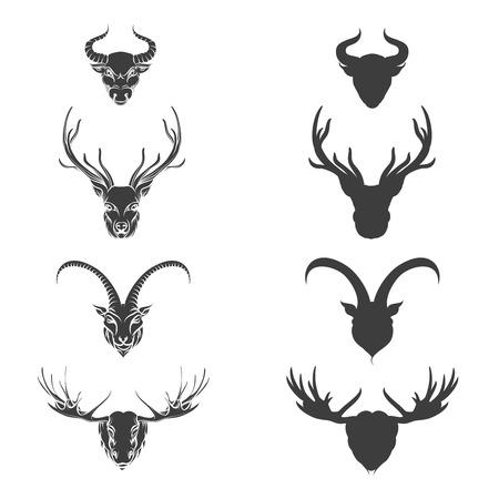 monochromic: Animals head silhouette monochromic deer elk goat and bull. Vector illustration Illustration