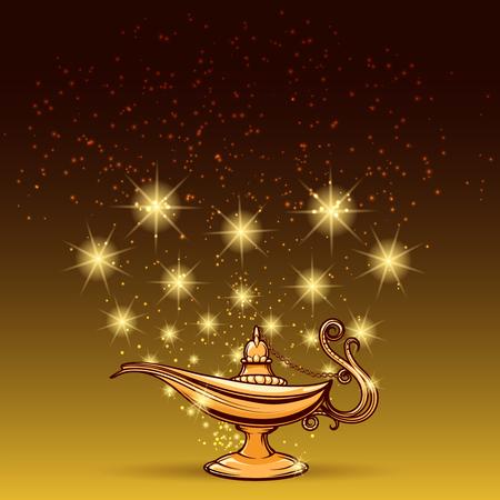 ゴールドの輝くとアラジン ランプ魔法の背景ベクトル