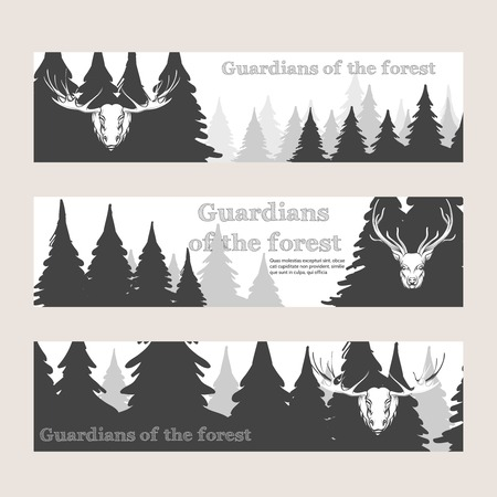 horny: Horizontal banners with forest silhouette deer and elk. Vector illustration Illustration