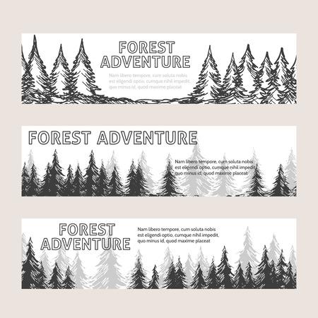 Banderas horizontales monocromas con bosque de pinos y bosques aventura de texto. ilustración vectorial Ilustración de vector