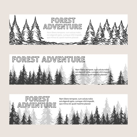 monochromic: Monochromic horizontal banners with pine forest and text forest adventure. Vector illustration