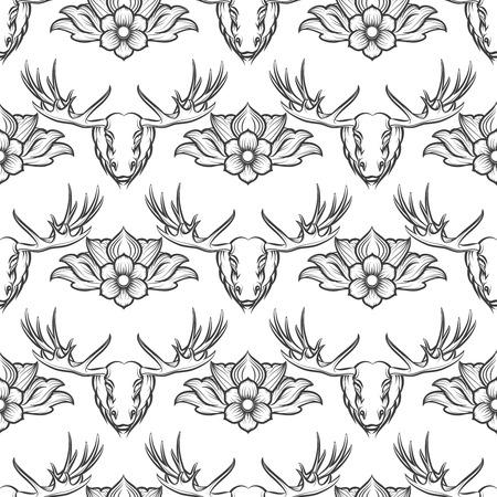 monochromic: Monochromic seamless pattern with elk and flowers. Vector illustration Illustration