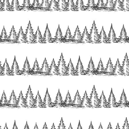 monochromic: Monochromic seamless pattern with hand drawn pine forest. Vector illustration