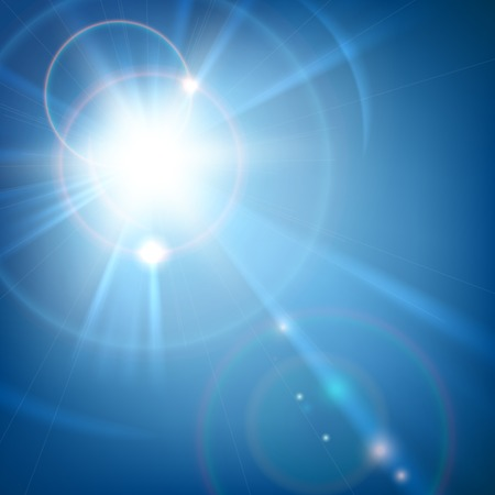Sun shine light with lens flareon blue. Vector background Illustration