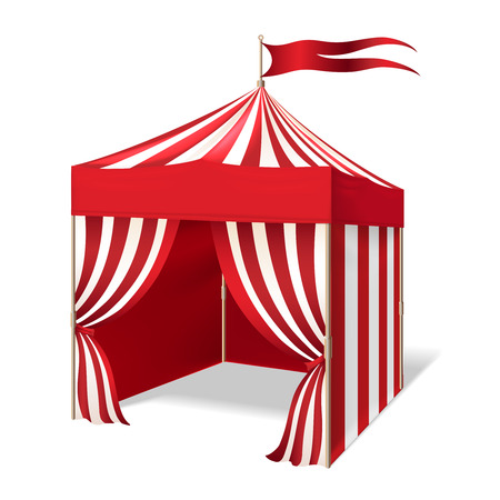 outdoor party: Vector circus or carnival tent for outdoor party on white background