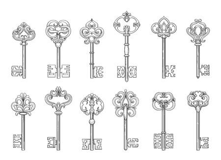 fleurdelis: Vintage keys or victorian chaves line icons on white backgroud. Vector illustration