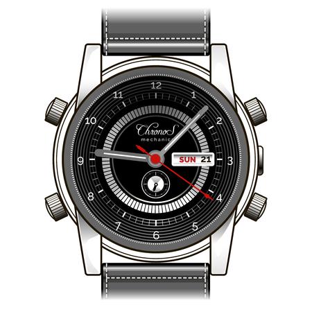 Vector hand horloge. Mens polshorloge vector illustratie