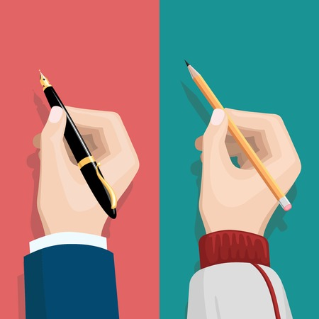 Hand with pencil and hand holding pen vector illustration