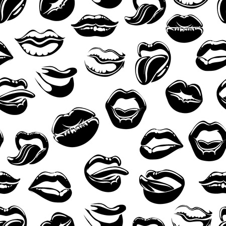 Seamless pattern with black sexy lips on whita background. Vector illustration