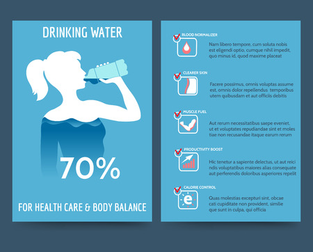 clear skin: Brochure flyer template front and rear side with drinking water benefits. Vector illustration