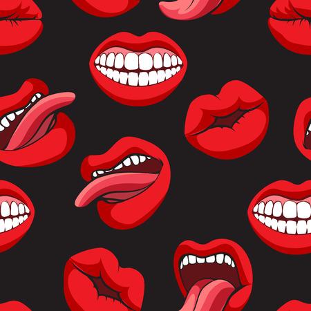 Pop art style mouth seamless pattern on black background. Vector illustration