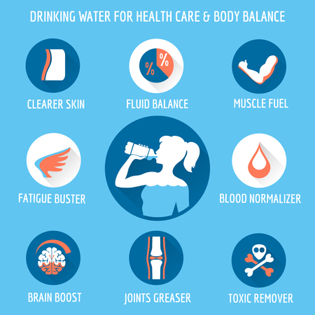 Drinking water for healthcare and body icons set. Vector illustration Vettoriali