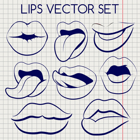 notebook page: Lips silhouettes imitation ball pen vector on notebook page