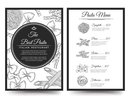 side menu: Brochure flyer template for italian restaurant menu. Front and rear side vector illustration Illustration