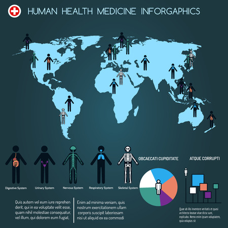 Human medicine infographics with map and people. Vector illustration
