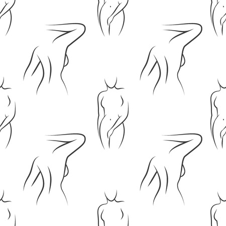women body: Seamless pattern with  woman silhouettes. Vector illustration