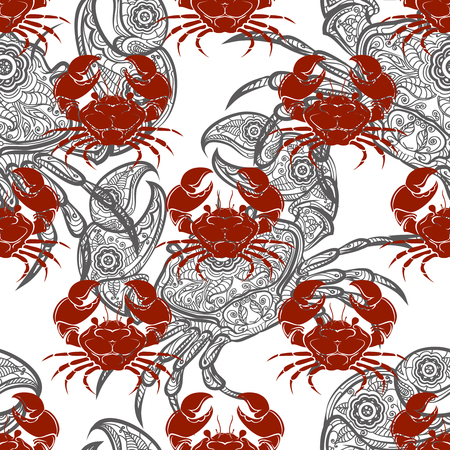 crab legs: Seamless pattern with grey ornamental and red crabs. Vector illustration