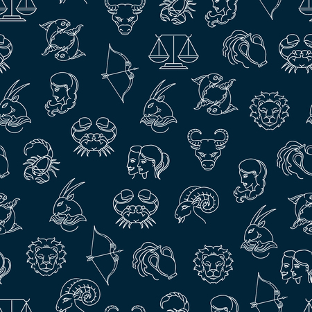 water carrier: Seamless pattern with zodiak signs on blue background. Vexctor illustration
