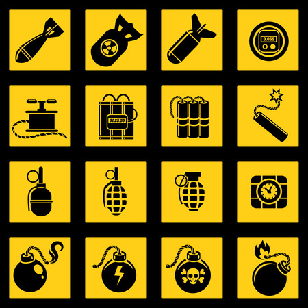bombshell: Flat icons set with bombs dynamites timers and military rockets. Vector illustration