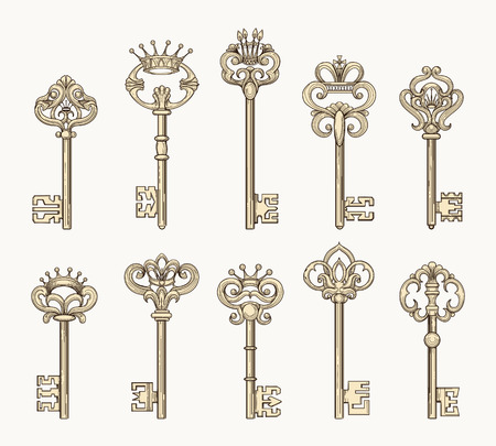 Vector antique chaves or ancient keys for old door