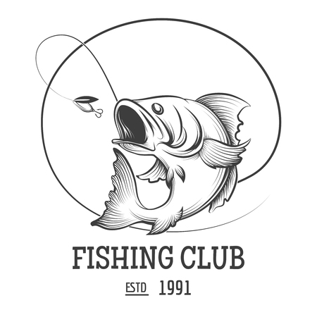 club de pêche avec des poissons de mouche illustration vectorielle