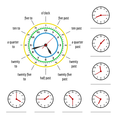 Telling time. What time is it. Write time shown on clock vector illustration Illustration
