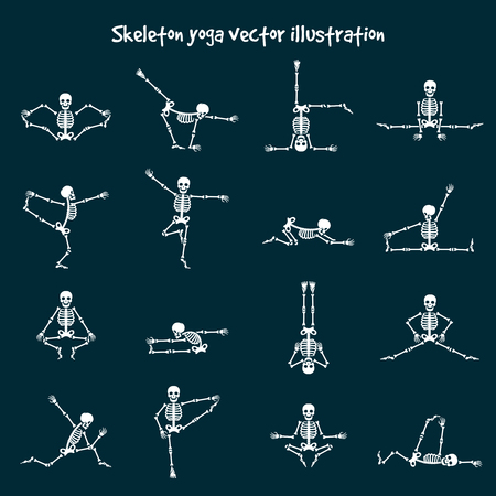 Skeleton yoga vector illustration. Comic healthy fitness skeleton