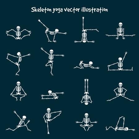 Szkielet ilustracji wektorowych jogi. Komiks zdrowy szkielet fitness Ilustracje wektorowe