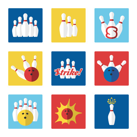 skittle: Bowling flat colorful icons set vector with ball and skittle