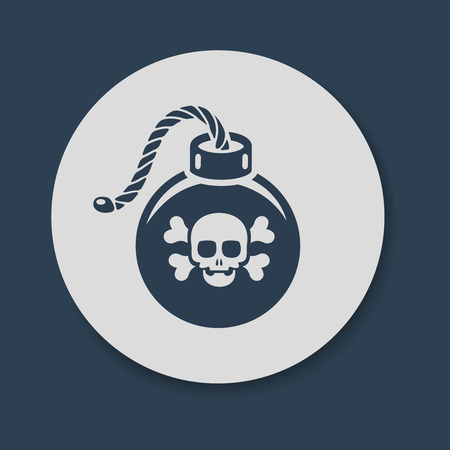 detonating fuse: Flat bomb with skull and crossbones icon vector Illustration