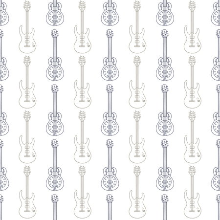 hand jamming: Music seamless pattern with pastel colors guitars vector Illustration