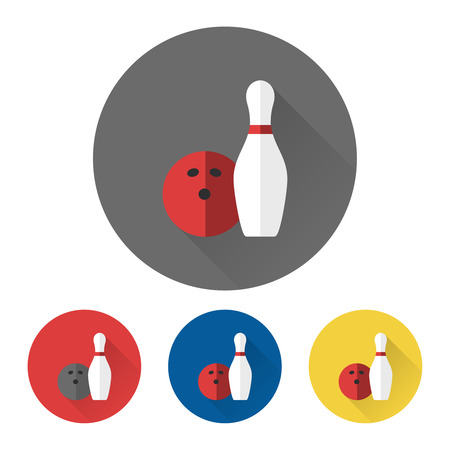 skittle: Bowling icons vector skittle and bowling ball