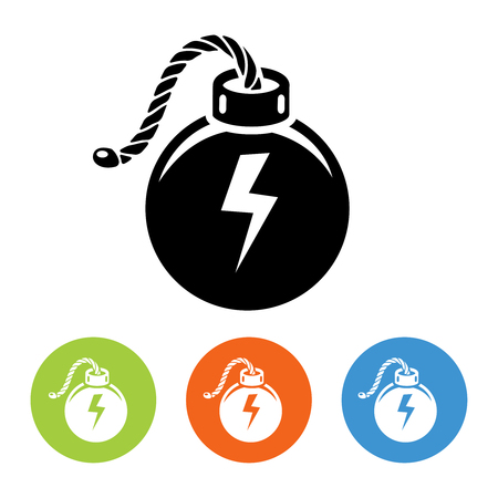 lit: Flat bombs with lit fuse icons set vector