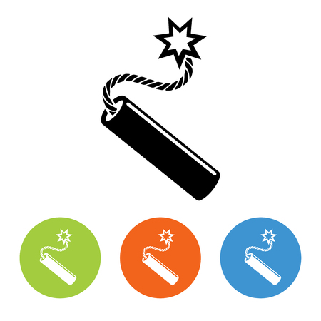 detonating fuse: Flat dynamit icon vector. Black and white and colorful design