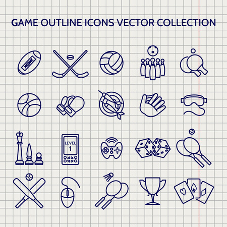 ball pen: Ball pen game outline icons set vector on notebook page vector Illustration