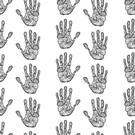 handprints: Hand drawn handprints seamless pattern monochromic vector