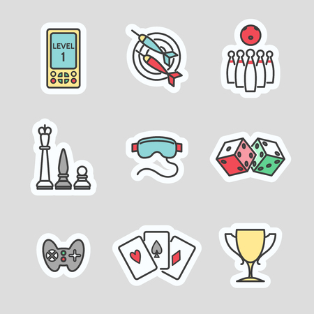 mouse pad: Colorful game stickers collection. Line icons set