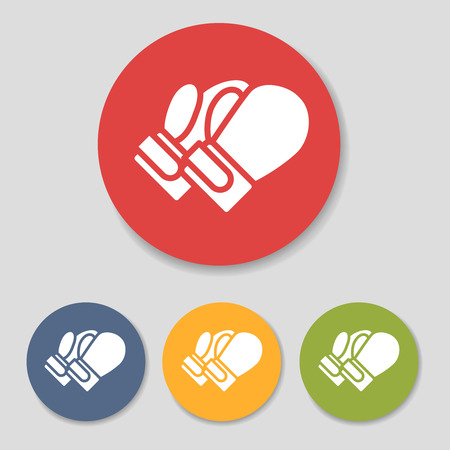 Flat boxing gloves icons set illustration Illustration
