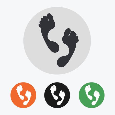 Hand drawn footprints icons set illustration Illustration