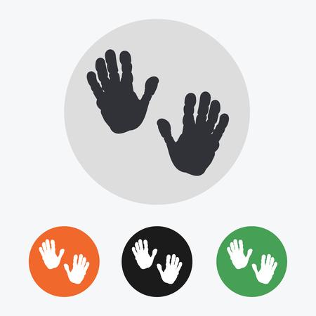 handprints: Hand drawn handprints icons set vector illustration