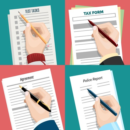 signing document: Hand with pen writing signing document form. Contract and tax form, task list and report illustration Illustration